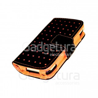 Чехол-книжка для iPhone 4 - черный/оранжевый