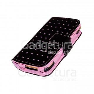 Чехол-книжка для iPhone 3G/3Gs - черный/розовый