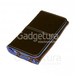 Чехол-книжка для iPhone 4 - черный/голубой