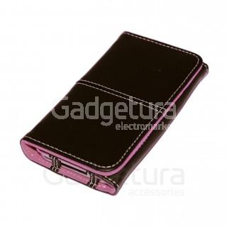 Чехол-книжка для iPhone 4 - черный/розовый