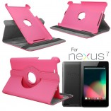 чехол книжка для google nexus 7 вращение 360 градусов светло-розовый