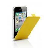 S - Case VIP кожаный раскладной чехол зарядка для Iphone 4/4S Limon Yellow